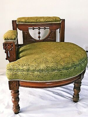 Eastlake Corner Chair with Curved Seat Rare Victorian 1890's