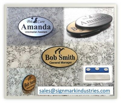 "Large Custom Employee Name Tag, 1.75"" x 3"" Oval with Magnet Attachment"