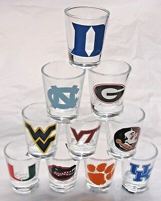 NCAA 2 oz Shot Glass with Team Logo by The Memory Co. Select Team Below