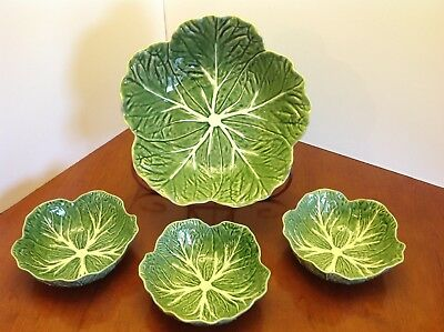 "Lot BORDALLO PINHEIRO Cabbage Green 11"" Serving Bowl + 3 Coupe Soup Cereal Bowls"
