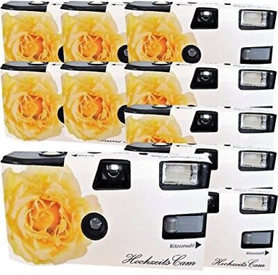 10x  Disposable Wedding Camera / Yellow Roses (Cameras 27 Photos Flash 10 Pack)