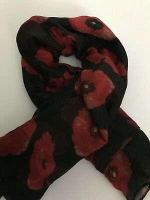 Remembrance Poppy Scarf Black/Red * Remembrance Day * ANZAC Day