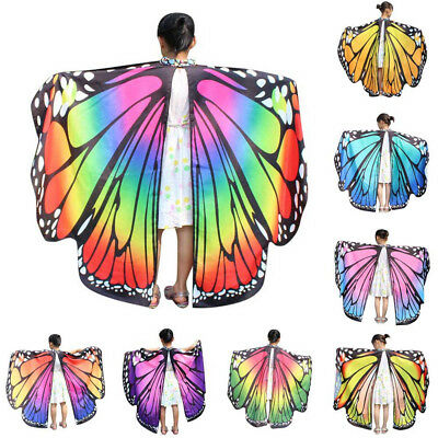 Kid Baby Girl Butterfly Wings Shawl Scarves Nymph Pixie Poncho Costume Accessory