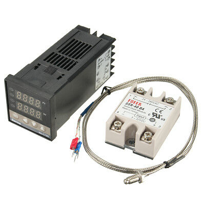 100-240V Digital PID Temperature Controller With 40A SSR & K Thermocouple Sensor