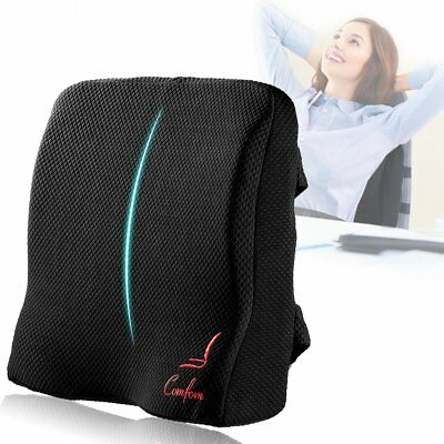 Memory Foam Back Support Lumbar Pillow Lower Pain Relief Office Chair Car Seat