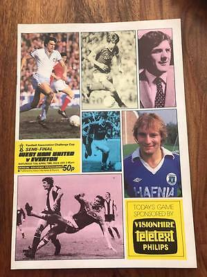 West Ham V Everton 1980 Fa Cup Semi Final Programme Free Postage Look