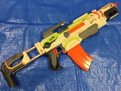 Nerf N-Strike Modulus ECS-10 w/ Stock Barrel Extension Clip Foam Dart Gun