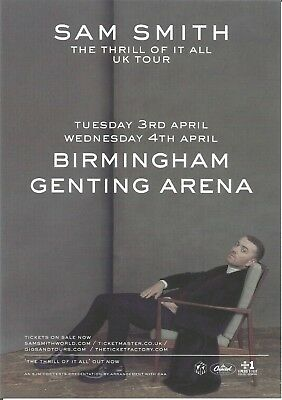 Sam Smith  'Thrill Of It All' UK Tour 2018 Birmingham Promo Flyer / Handbill x 3