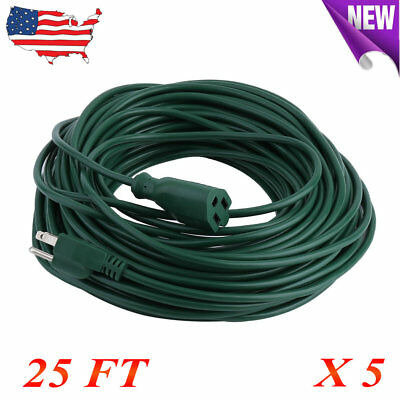 5X 25ft Feet Power Extension Cord Cable 16 AWG 1625W Outdoor Heavy 125ft Factory