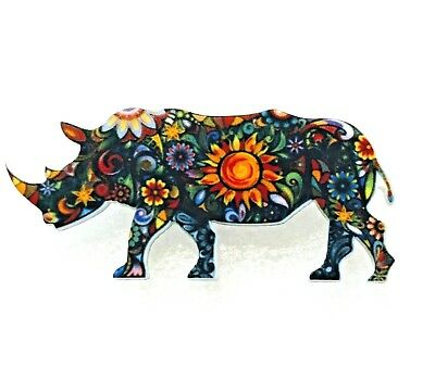 Rhino Rhinoceros Large Floral Multicolor Acrylic Pin Brooch Jewelry