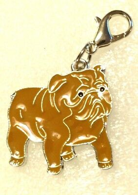 Bulldog Dog Pup Bag Purse Charm Dangle Brown Zipper Pull Jewelry
