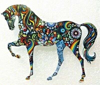 Horse Standing Large Multicolor Floral Acrylic Pin Brooch Jewelry