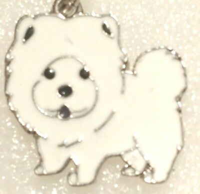 Chow Chow Dog Pup Bag Purse Charm Dangle White Zipper Pull Jewelry
