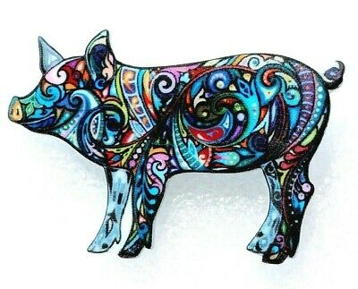 Pig Boar Sow Large Artistic Multicolor Acrylic Pin Brooch Jewelry
