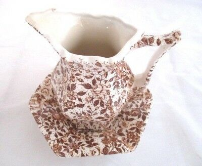 Vintage Enesca Japanese Mini Pitcher and Plate Brown floral Chintz Pattern.