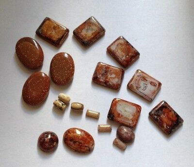 Job Lot - 19 Mixed Brown Glass Cabochons, Gold Sandstone & Jasper Beads
