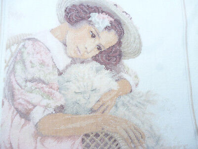 CROSS STITCH on LINEN titled Dreaming - completed & ready to frame - vg cond.