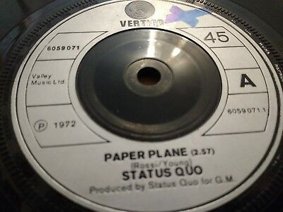 "Status Quo "" Paper Plane "" 7"" Rock Single Very Good+ Vertigo 1972"