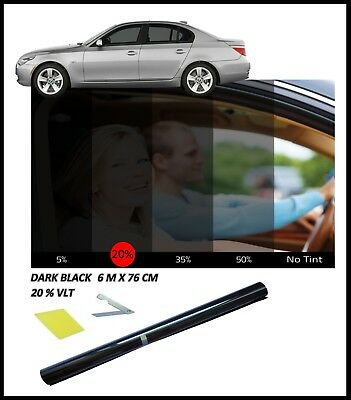 CAR WINDOW TINT FILM TINTING DARK BLACK SMOKE 20% 76cm x 6M NEW