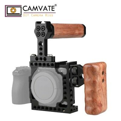 CAMVATE Camera Cage Wooden Handle Cold Shoe Mount fr Sony A6500 A6000 A6300 NEX7