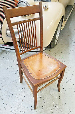 Vintage 1950u0027s Tooled Leather Seat Wooden Chair Embossed W/ Rivets! Antique