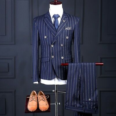 Double Breasted Wedding Blue With Gold Striped Men Slim Fit Suit Groom Tuxedos
