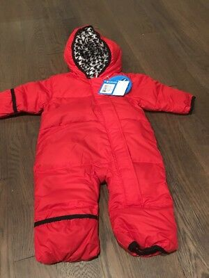 762ac38b1995 COLUMBIA BABY BOY Girl Red Snuggly Bunny Bunting Snow Suit NWT 3-6 ...