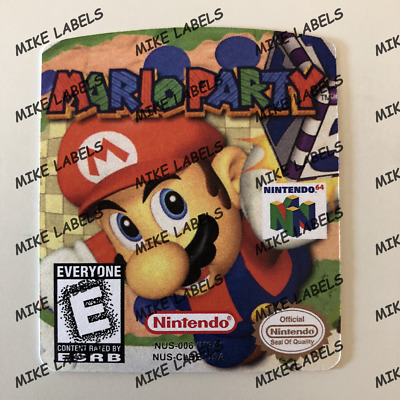 MARIO PARTY 1 US Nintendo N64 Cartridge Replacement Cart Label Sticker Die  Cut