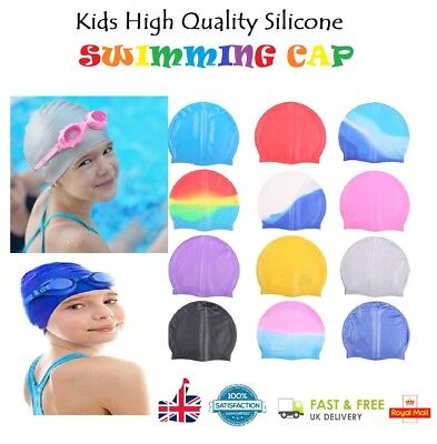 Kids Swimming Hat Silicone Elastic Flexible Durable Comfortable Swimming Cap UK