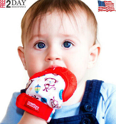 US FAST SHIP-Nuby Soothing Teething Mitten with Hygienic Travel Bag, Red NEW