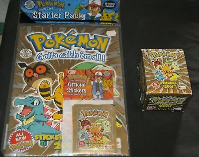 Pokemon Stickers 2001 Box RARE Merlin Collections Topps + NEW Book Starter Pack
