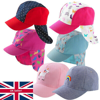 Girls Sun Hat Legionnaire Peak Summer Caps Butterfly Unicorn Animals Polka Dot