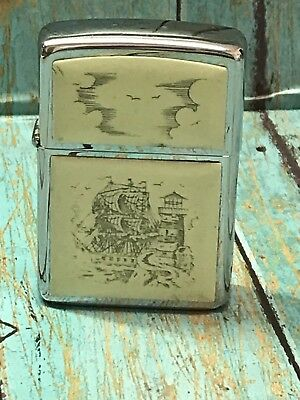 Zippo Lighter With Ship And Lighthouse