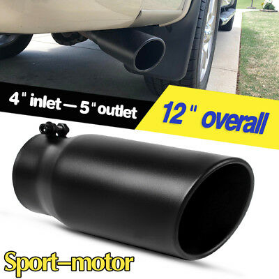 "4"" Inlet 5"" Outlet 12"" inch Long Angle Cut Truck Exhaust Tip Black Tail Pipe S/S"