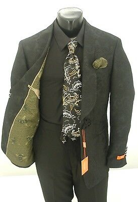 Tallia Men's Slim Fitting Black Paisley Prom Dinner Jacket, Sport Coat $149.99