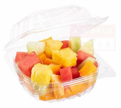Pack of 100 Small Clear Plastic Hinged Food Container 6x6 for Sandwich Salad Par