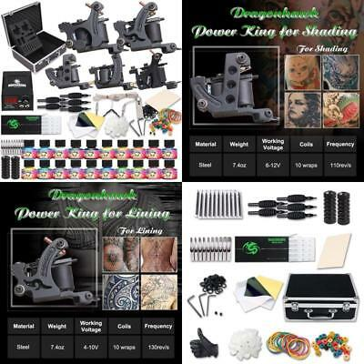 Professional Complete Tattoo Kit Machine Gun Power Supply Needles Color Inks Set