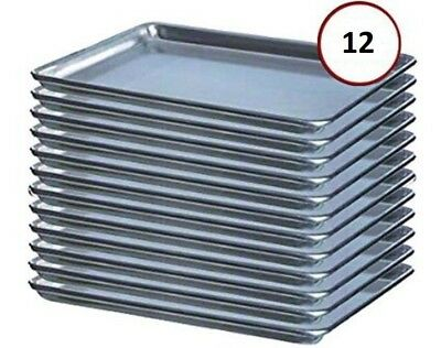 "(12-Pack) 18"" x 13"" Half Size 19 Gauge Aluminum Bun / Sheet Pan - Wire in Rim"