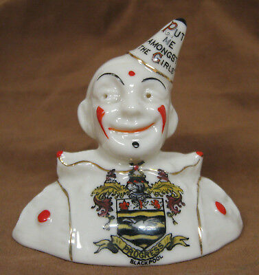 """Carlton China Crested Clown Bust, 3"""", Blackpool, """"Put Me Amongst the Girls"""""""