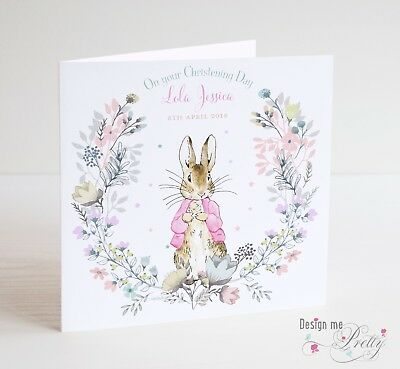 PERSONALISED PETER RABBIT FLOPSY Christening Card - Christening Day