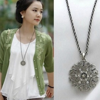 Women's Fashion Jewelry Long Silver Plated Crystal Flower Pendant Necklace 8-3