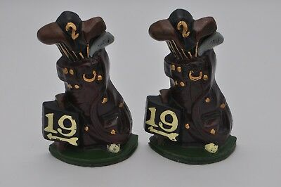 Vintage Metal Cast Iron 19th Hole Golf Bag Clubs Balls Bookend Door Stopper