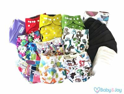 Washable Reusable Bamboo Cloth Pocket Diaper With insert Set of 9 + Accessories