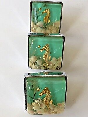 Vintage Sea Horse Shells Square Clear Lucite Plastic Drawer Knobs Handles Chrome