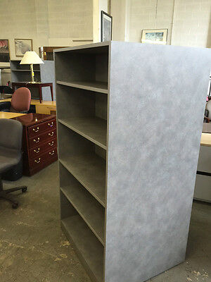 """36""""W x 30""""D x 65 1/2""""H Double sided bookcase unit in Gray laminate"""