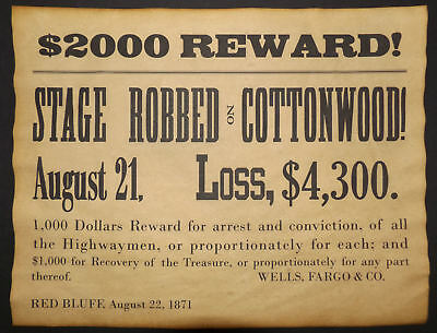 Wells, Fargo, & Co.Cottonwood Robbery Reward Poster, old west, western, wanted