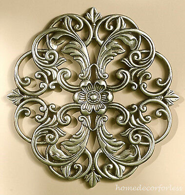PEWTER Scrolled Wall Round Metal Medallion Entryway Dining Living Home Decor