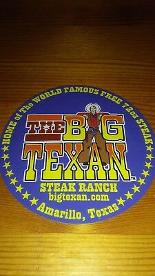 The Big Texan Ranch Amarillo Tx Home Of The 72Oz Steak Bumper Sticker Decal