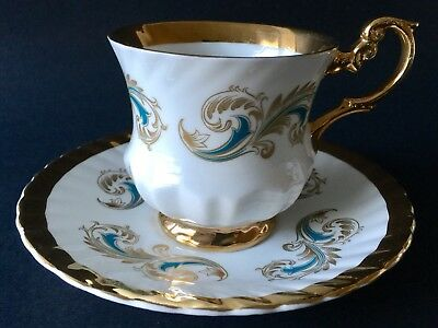 Rosina Pedestal Cup Saucer Aqua Blue Curled Feather Heavy Gilt Mint
