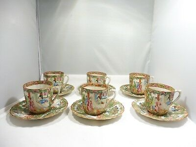 6 Chinese Rose Medallion Paper Thin Tea Or Demi Tasse Cups W Saucers Circa 1890
